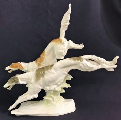 Hutschenreuther Porcelain Figure of Two BorzoiRussian Wolfhounds Running 3  2