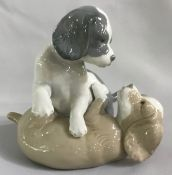 Vintage Porcelain Figurine Of Two Puppies Play Fighting