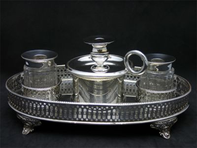 Inkwells 2/Couples Inkwell With Candlestick 1 Cynthia Findlay Antiques