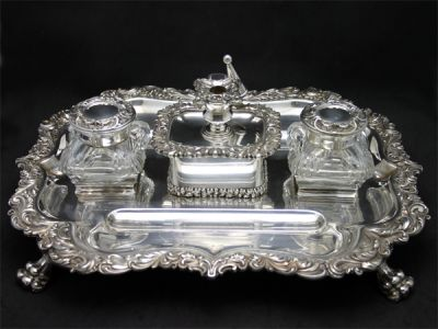 Inkwells 2/Rare Partner Desk Set 1 Cynthia Findlay Antiques