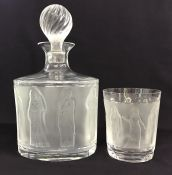 Lalique Femmes Antiques Crystal Spirit Decanter & Old-Fashioned Glass