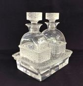 "Lalique France ""Bangkok"" Pattern Oil & Vinegar Cruet Set"