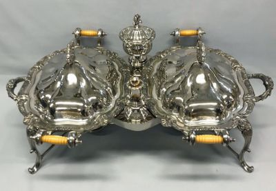 Large Double Silver Plate Entree/Chafing Dish & Frame