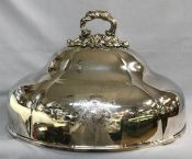 Large Sheffield Silver Plate Meat Dome, English