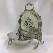 Victorian Silverplate Floral Biscuitier
