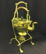 Late Victorian Brass Tip Kettle and Stand, C.1890