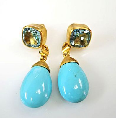 Lika Behar Blue Topaz Turquoise Diamond Drop Earrings