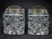 Lovely Pressed Crystal and Sterling Inkwells