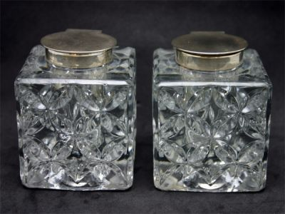 Lovely Pressed Crystal and Sterling Inkwells 1 Cynthia Findlay Antiques
