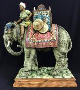 Majolica Blackamoor Figure On A Decorated Elephant