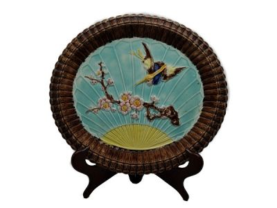 Majolica Plate with Flying Crane Decoration