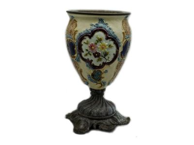 Majolica Urn with Metal Base  Mj008