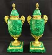 Malachite and Bronze Dore Russian Cassolette Urns