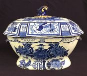 "Mason's Ironstone ""Blue Kaolin"" Pattern 2 Piece Soup Tureen"