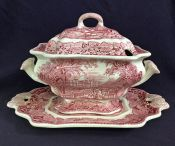 Mason's Pink Vista 3 Piece Soup Tureen