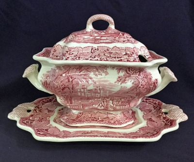 Mason s Pink Vista 3 Piece Soup Tureen 3