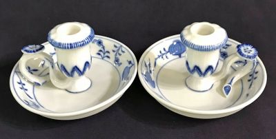 Meissen Blue   White Onion Pattern Chambersticks 2