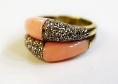 Mid Century Modern Coral and Diamond Ring