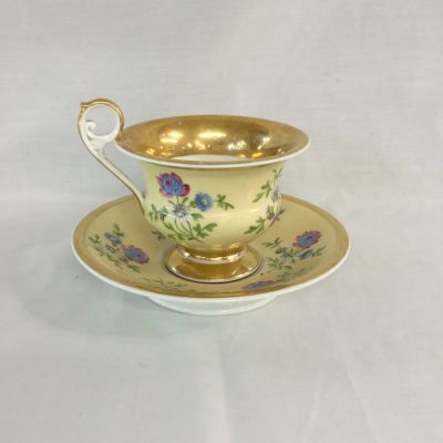Mid-Nineteenth-Century French Porcelain Cup and Saucer