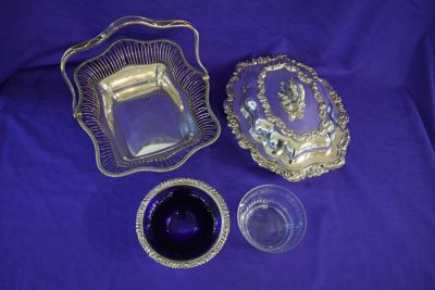 Mid Twentieth-Century Silver Plate Pedestal Condiment Bowl with Blue Glass Insert  Crystal Bowl  Georgian Sheffield Silver Plate Oval Wire Basket  and Early Twentieth-Century Pair of Silver Plate Entree Dishes