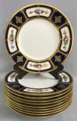 Mintons Hand Enamelled Dinner Plates With Acid Etched Gold