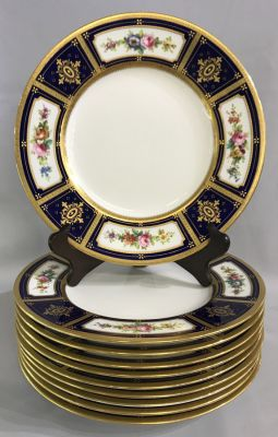 Mintons Hand Enamelled Dinner Plates With Acid Etched Gold c