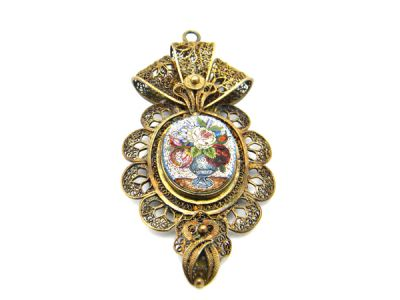 Mirco Mosaic and Silver Gilt Filigree Pendant  MmP002 1