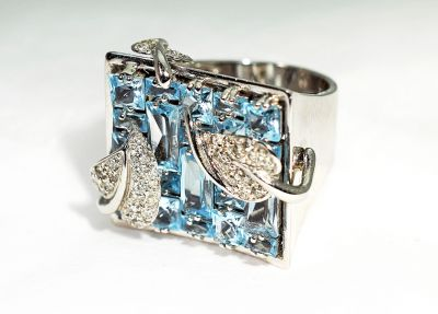 Modern Blue Topaz and Diamond Mosaic Ring