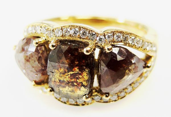 ring diamond brown engagement antique rings