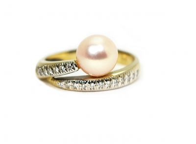 Modern Cultured Pearl and Diamond Ring