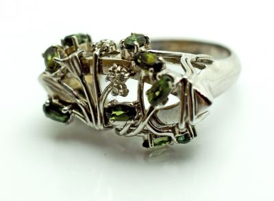 Modern Green Tourmaline and Diamond Floral Ring