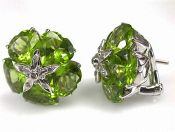 Modern Heart Peridot and Diamond Earrings