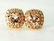 Modern Morganite and Diamond Stud Earrings