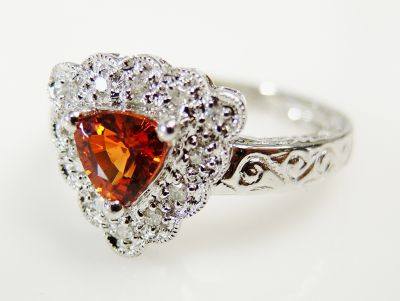 Modern Orange Sapphire and Diamond Ring