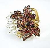 Modern Pearl and Orange Sapphire Maple Leaf Ring