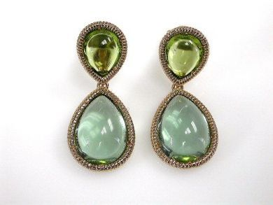 Modern Peridot and Prasiolite Drop Earrings