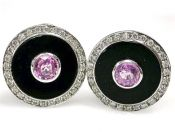 Modern Pink Sapphire Diamond Black Onyx Earrings