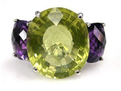 Modern Prasiolite and Amethyst Ring