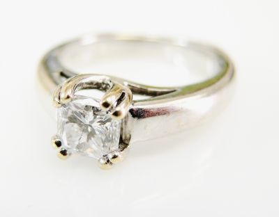 Modern Radiant Cut Diamond Solitaire Ring