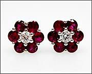 Modern Ruby and Diamond Earrings