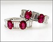 Modern Ruby and Diamond Huggie Earrings