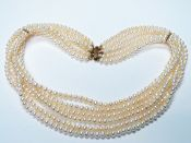 Modern Six Strand Freshwater Pearl Necklace