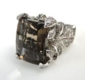 Modern Smoky Quartz and Diamond Ring