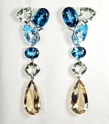 Modern Topaz Prasiolite Smoky Quartz Drop Earrings