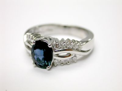 Modern Sapphire and Diamond Engagement Ring