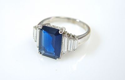 Modern Sapphire and Diamond Ring