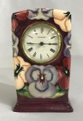 Moorcroft Pottery Mantle Clock In The Pansy Pattern