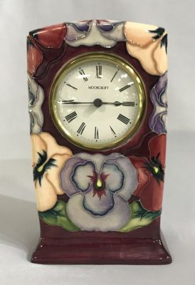 Moorcroft Pottery Mantle Clock In The Pansy Pattern 3