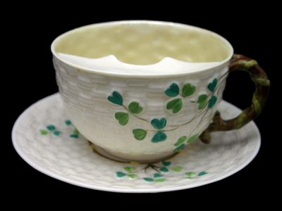 Moustache Cup Belleek Shamrock Pattern