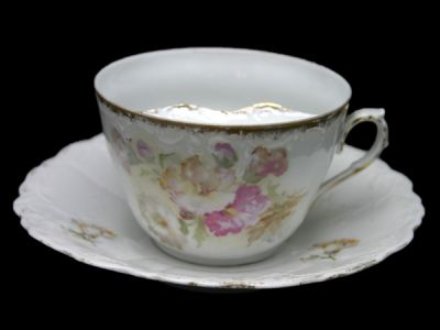 Moustache Cup German Floral Motif